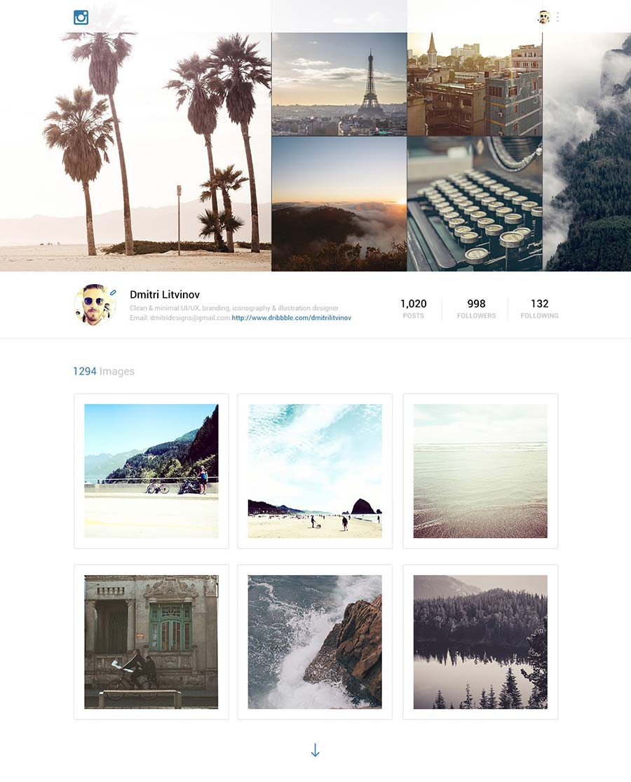Instagram Redesign Web
